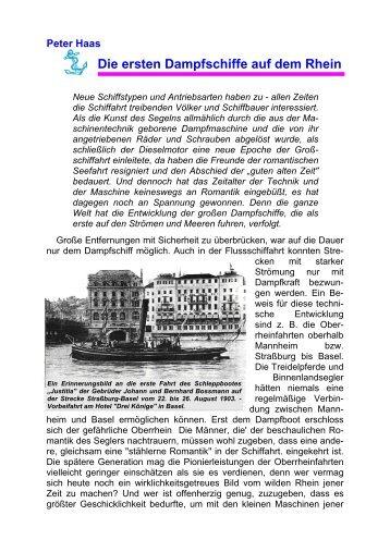 Peter Haas Die ersten Dampfschiffe auf dem Rhein