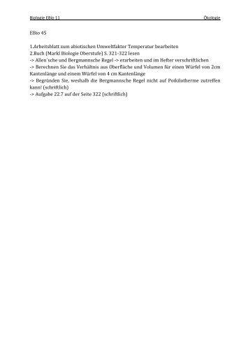 EBio 45 1.Arbeitsblatt zum abiotischen Umweltfaktor Temperatur ...
