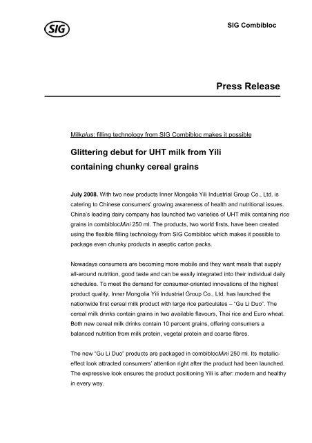 Press Release - SIG Combibloc