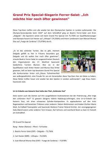 """Grand Prix Special-Siegerin Ferrer-Salat: """"Ich möchte ... - Schindlhof"""