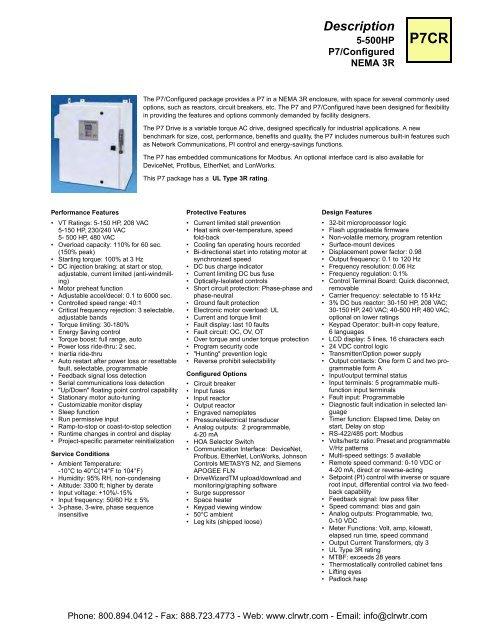 Yaskawa P7CR Series 5hp - 500hp P7/Configured NEMA 3R Drive