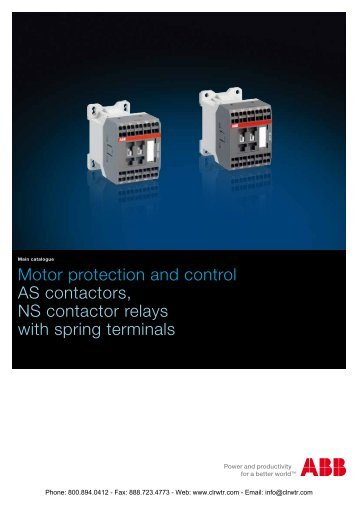 AS/ASL Contactors & NS/NSL Contactor Relays with Spring Terminals