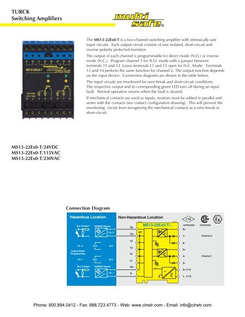 TURCK MS13-22Ex0-T Two-Channel Switching Amplifier