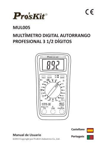 multímetro digital autorrango profesional 3 1/2 dígitos - Molgar