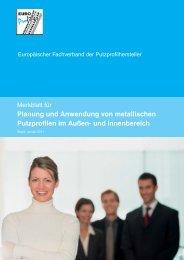Merkblatt für Planung und Anwendung von metallischen Putzprofilen