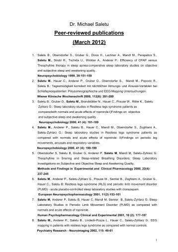 Peer-reviewed publications (March 2012)