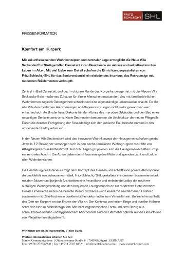 Pressemitteilung - Fritz Schlecht/SHL