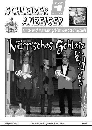 Ausgabe 1/2010 – Amts- und Mitteilungsblatt der Stadt Schleiz ...