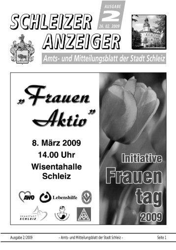 Ausgabe 2/2009 – Amts- und Mitteilungsblatt der Stadt Schleiz ...