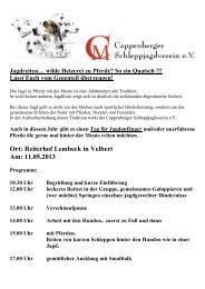 Ort: Reiterhof Lembeck in Velbert Am: 11.05.2013 - Schleppjagd24.de