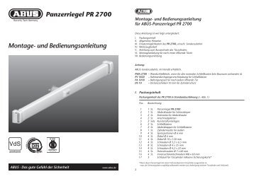 Montage- und Bedienungsanleitung Panzerriegel PR 2700