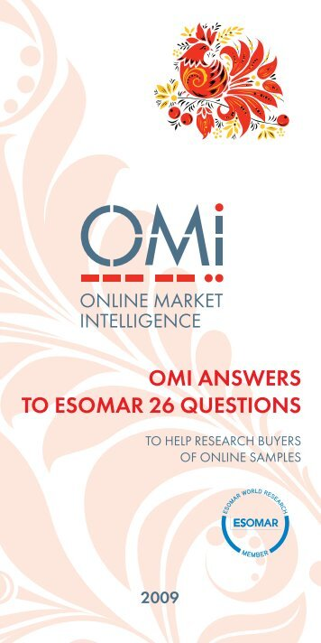 OMI ANSWERS TO ESOMAR 26 QUESTIONS - Directory of ...