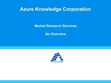 Azure Knowledge Corporation - Directory of Research - Esomar