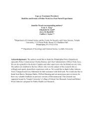 Cops as Treatment Providers: Realities and ... - Temple University