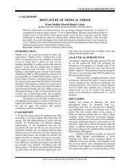 DISCLOSURE OF MEDICAL ERROR - Ayub Medical College