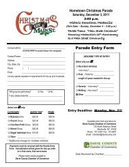 parade application 2011 - Davie County Chamber of Commerce