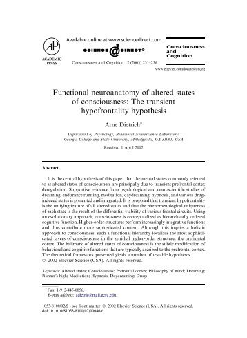 Functional neuroanatomy of altered states of consciousness: The ...