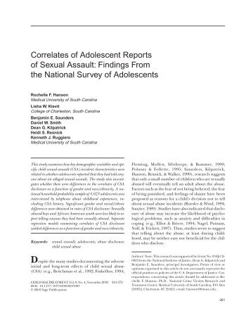 Correlates of Adolescent Reports of Sexual Assault ... - ResearchGate