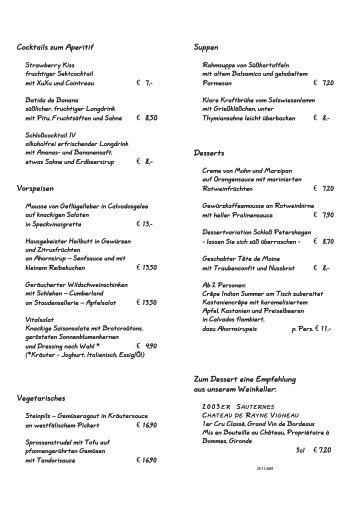 Cocktails zum Aperitif Vorspeisen Vegetarisches Suppen Desserts ...
