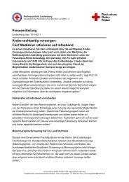 Krebs rechtzeitig vorsorgen - Rotkreuzklinik Wertheim