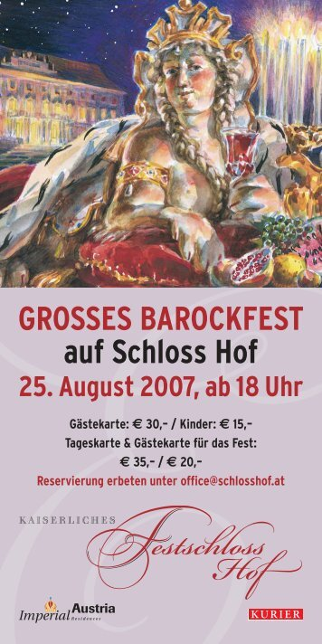 GROSSES BAROCKFEST auf Schloss Hof 25. August 2007, ab 18 Uhr