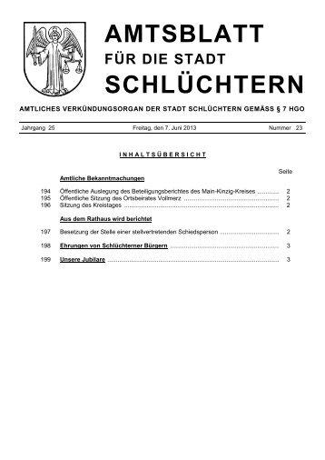 Amtsblatt Nr. 23 vom 07. Juni 2013 - Stadt Schlüchtern