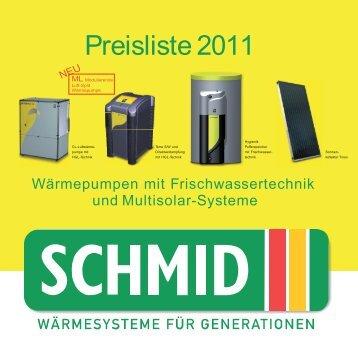 Preisliste 2011 Schmid gesamt - Schmid Energiesysteme