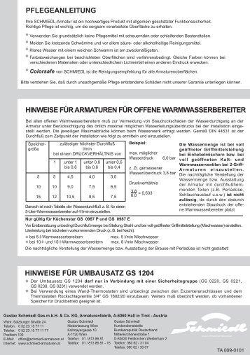 Anleitung downloaden - Schmiedl Armaturen