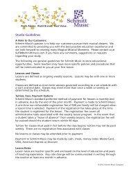 Lesson Studio Guidelines - Schmitt Music