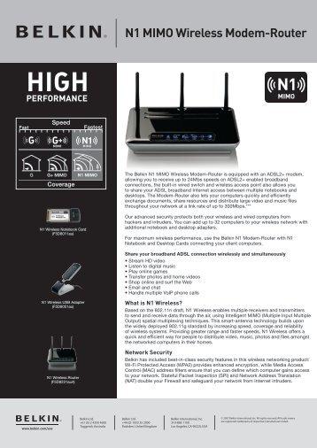 N1 MIMO Wireless Modem-Router - Belkin