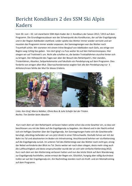 Bericht Kondikurs 2 - Regionalverband Schneesport Mittelland
