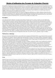 Règles d'utilisation des Forums de Schneider Electric