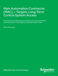 Main Automation Contractor (MAC) — Targets ... - Schneider Electric