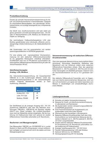 VME300 Volumenstrommesseinrichtung mit Analogausgang und ...