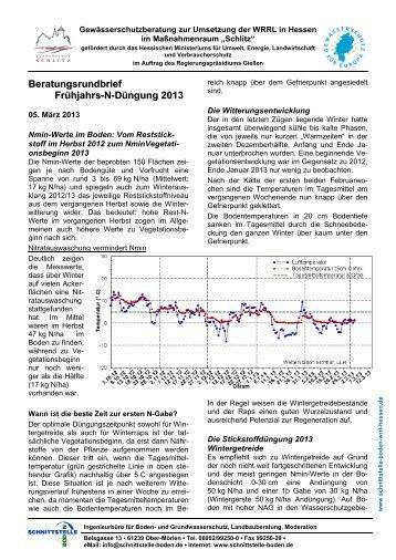 Rundbrief Frühjahrs-N-Düngung 2013 - Ingenieurbüro Schnittstelle ...