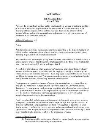 Anti-Nepotism Policy - Pratt Institute
