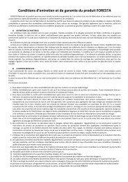 Conditions d'entretien et de garantie du produit FORESTA - Auchan