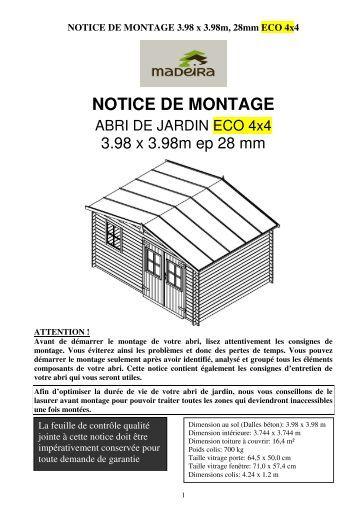 Abri de jardin en panneaux 19 mm auchan - Notice de montage abri de jardin metal ...