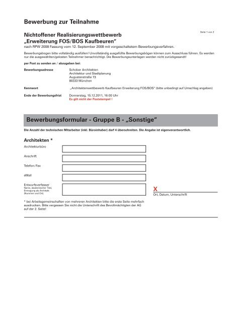 Bewerbung Zur Teilnahme Bewerbungsformular Gruppe B