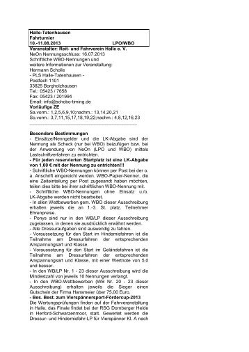 Halle-Tatenhausen Fahrturnier 10.-11.08.2013 LPO ... - Schobo-timing