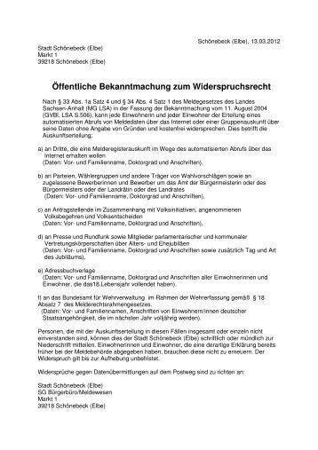 Widerspruchsrecht - Stadt Schönebeck
