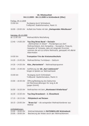 16. Nikolausfest 04.12.2009 - 06.12.2009 in ... - Stadt Schönebeck