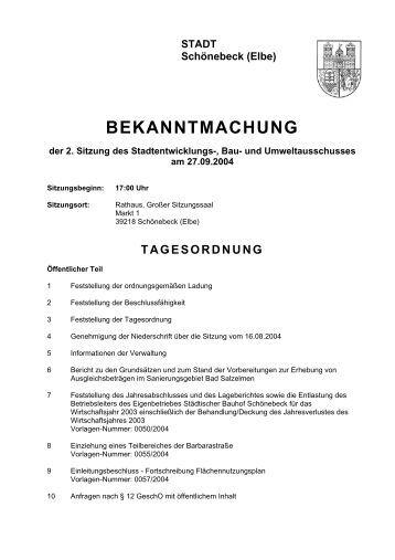 Bekanntmachung der 2. Sitzung des ... - Stadt Schönebeck