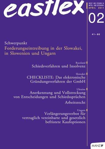 Forderungseintreibung in der Slowakei, in Slowenien ... - Schoenherr