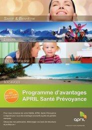 Programme d'avantages APRIL Santé Prévoyance