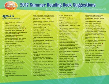 2012 Summer Reading Book Suggestions - Scholastic Canada
