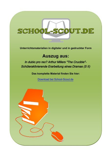 """In dubio pro reo? Arthur Millers """"The Crucible ... - School-Scout"""