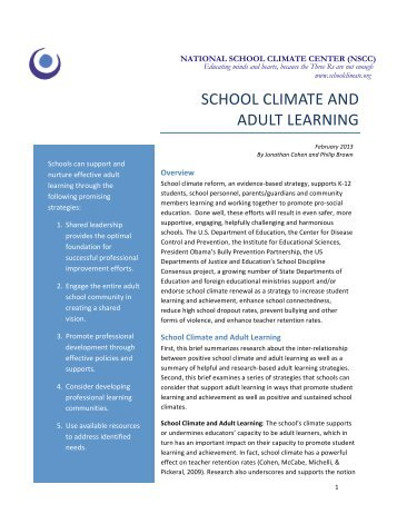 SCHOOL CLIMATE AND ADULT LEARNING - National School ...