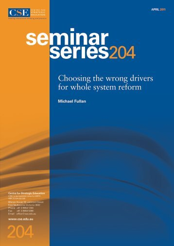 Choosing the wrong drivers for whole system reform - EdSource