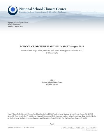 School Climate Research Summary—August 2012